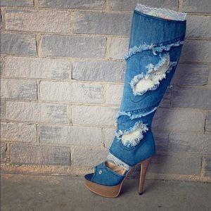 Denim knee-high boots
